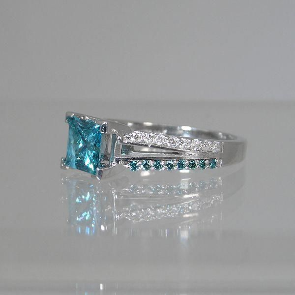 A blue diamond princess cut ring  #diamonds #beautiful #diamondprincessring