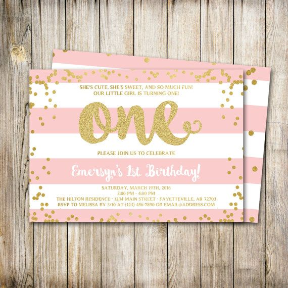 Best Jorydns First Birthday Ideas Images On Pinterest - 1st birthday invitations gold and pink