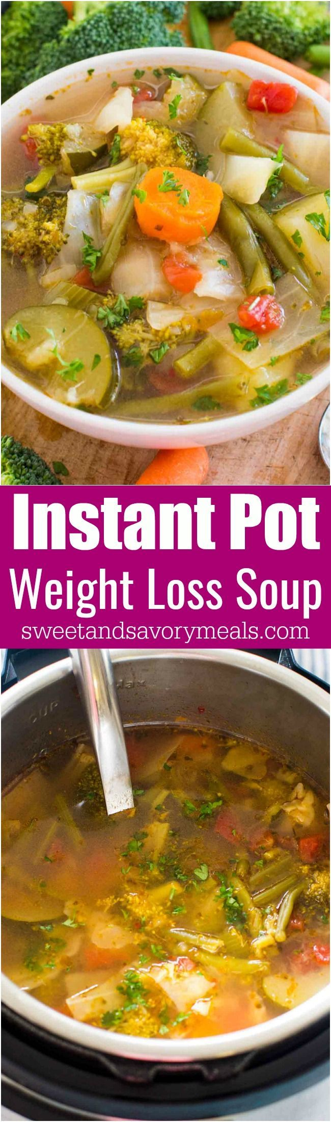 Instant Pot Weight Loss Soup is a very easy to make veggie soup that packs lots of nutrients and fiber to keep you full and boost your energy. #instantpot #soup #skinny #healthy #weightloss