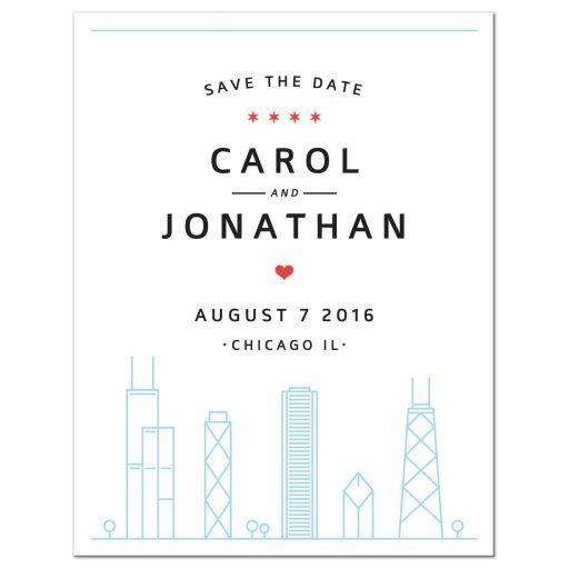 Chicago skyline wedding save the date announcement. Destination wedding.