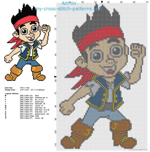 Jake from Disney cartoon Jake and the Never Land Pirates cross stitch pattern free download