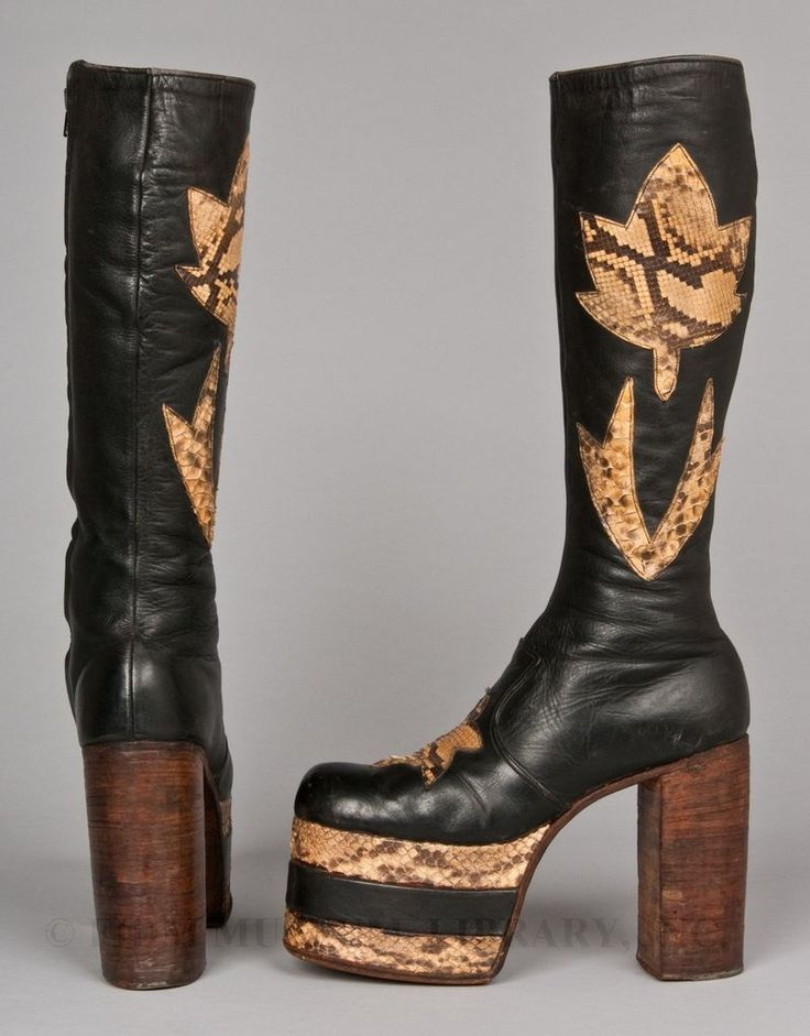 Black leather platform boots with snakeskin decoration and wooden soles and  heels, 1972-1973
