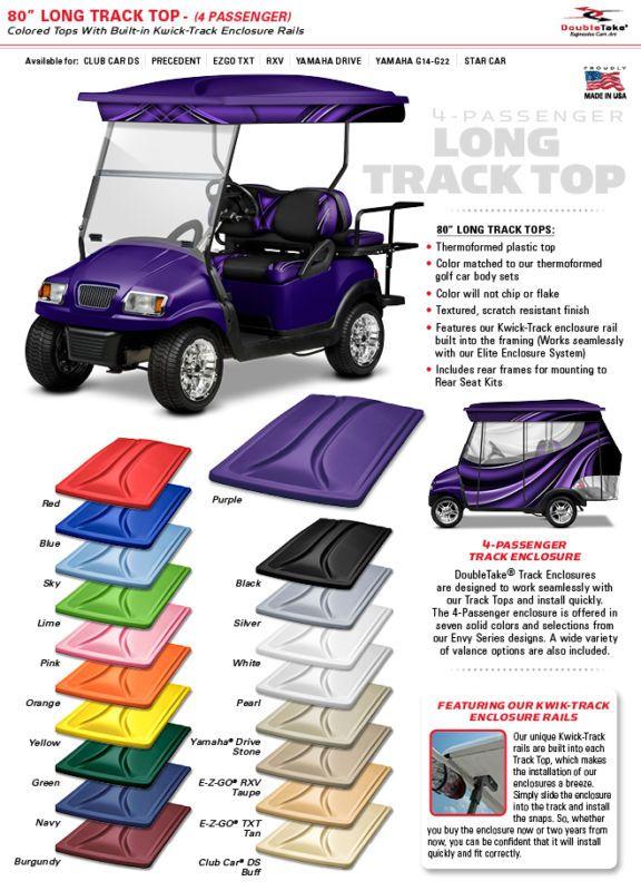 "EZGO, Club Car Yamaha Golf Cart Canopy Extended 4 Pass 80"" Roof Top 18 Colors"