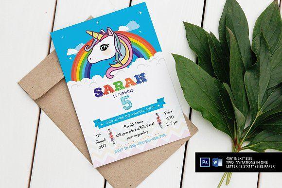 Unicorn Birthday Party Invitation  @creativework247