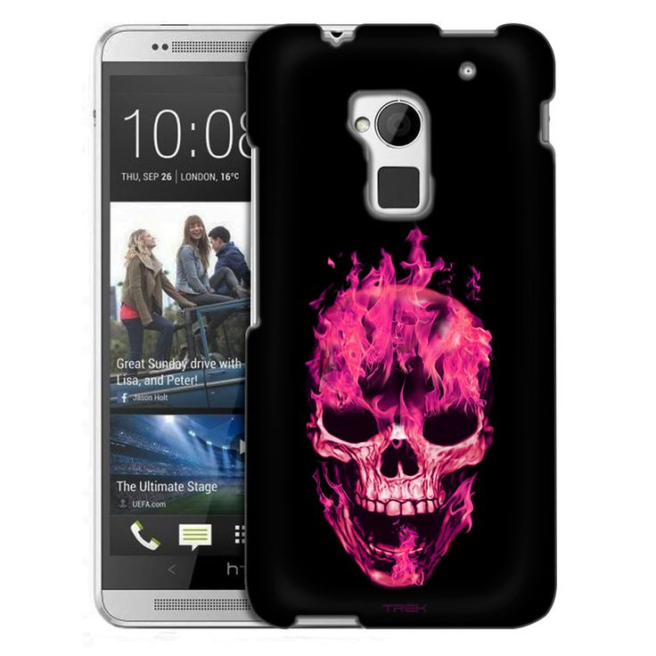 HTC One Max Pink Flaming Skull on Black Slim Case