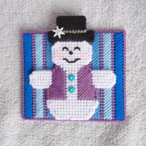 Plastic Canvas: Smiling Snowman Napkin Holder Covers ***COVERS ONLY