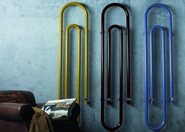 Paper clip inspired radiator design in contemporary colours | Graffe – Studio Lucarelli Rapisarda for Scirocco | interior design | decor | warehouse conversion home | modern homes