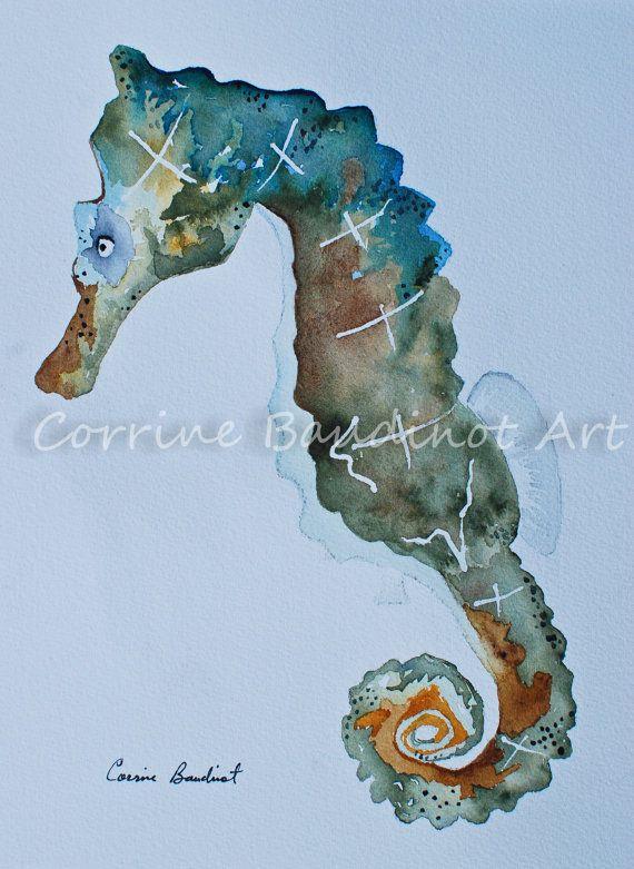 Undersea Green seahorse watercolor painting ocean life by ssbaud, $60.00