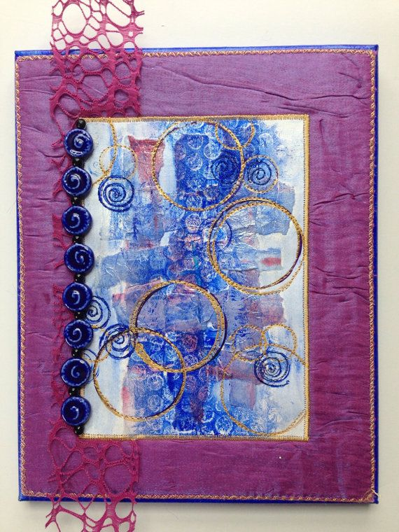 Mixed Media Fiber Art Wall Art  Blue Gold by StitchesnQuilts