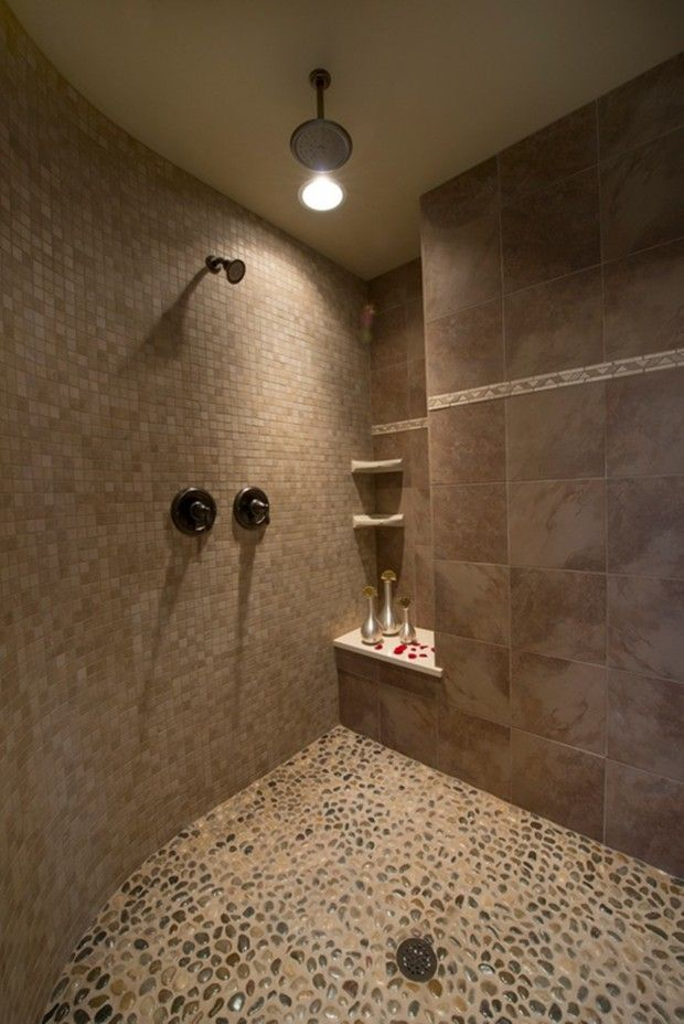 10 Images About Pebble Tile Shower Floor Small Bathroom