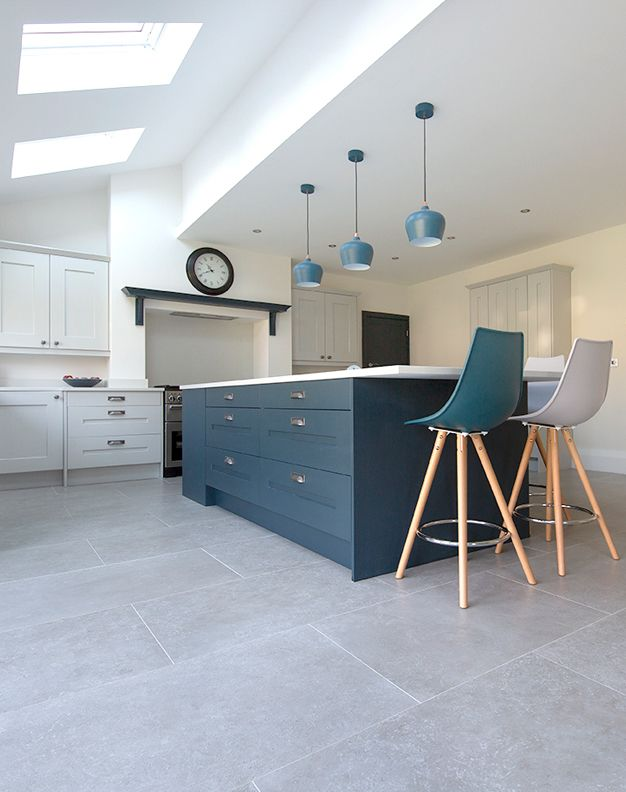 Dove Grey Stone Effect Porcelain Tiles Porcelain Tiles Mystonefloor Grey Kitchen Floor Kitchen Flooring Grey Tile Kitchen Floor