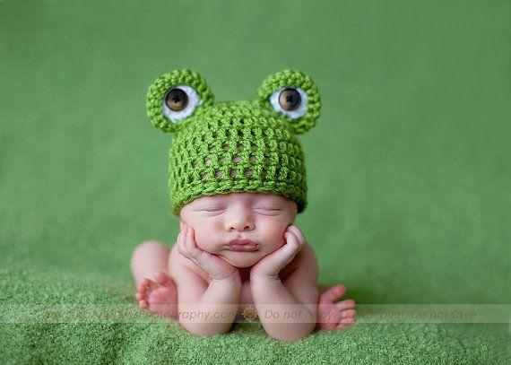 Mr Frogger Newborn Beanie by CrochetCuteness on Etsy, $25.00