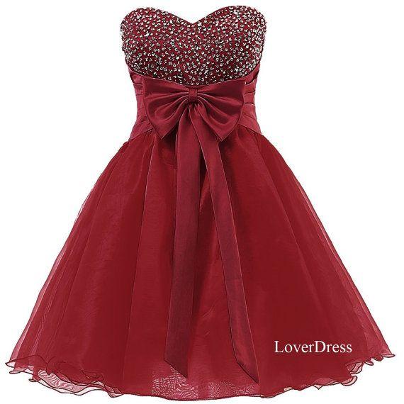 Burgundy Short Homecoming Dresses, Sweet 16 Dress, Sweetheart Organza Cute Homecoming Dresses / Party Dresses / Prom Dresses