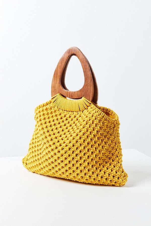 Large Wood Handle Macrame Tote Bag Bolsas De Croche Lindas Alca De Bolsa Tutoriais De Bolsas De Croche