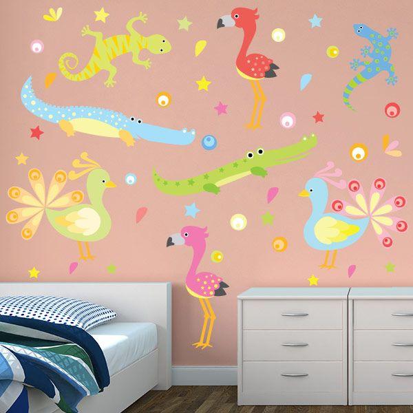 Flamingos and friends restickable wall graphics sticker designswall decor stickersjelly
