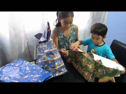 Christmas presents opening Kids opening Christmas gifts
