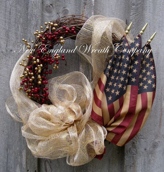 Americana Wreath, Patriotic, Fourth of July Wreath, Tea Stained Flag Wreath
