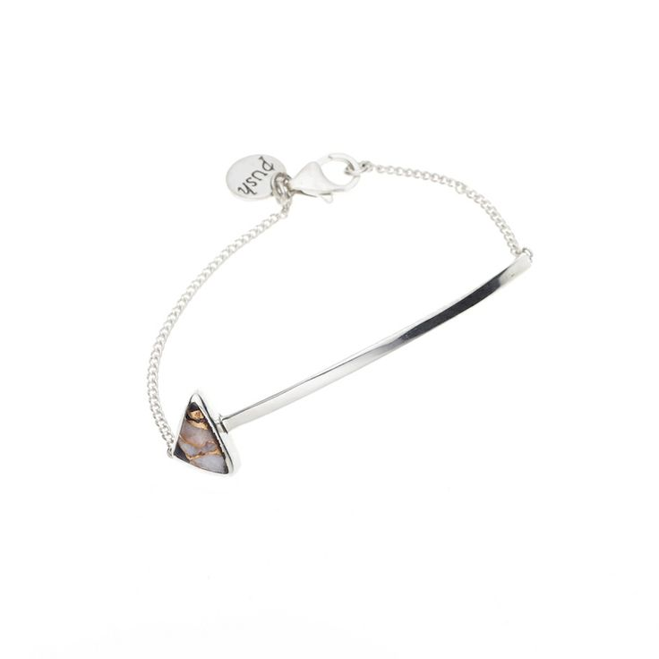 En Arrow bracelet - $150. Fine 925 sterling silver bracelet with curved bar detail and delicate chain, with a feature black and white calcite stone detail. Fastens with a small clasp. Lovingly designed in Sydney by Australian designer jewellery label Pushmataaha. www.savethelastpinker.com.au/shop/en-arrow-bracelet/
