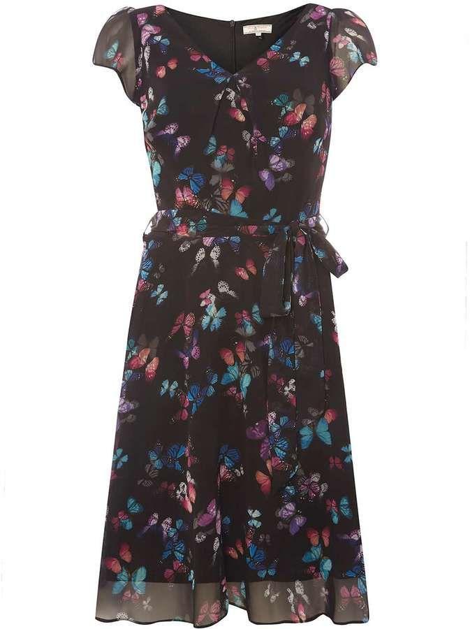 00ed308136 Billie   Blossom Tall Black Butterfly Print Skater Dress - Dresses ...