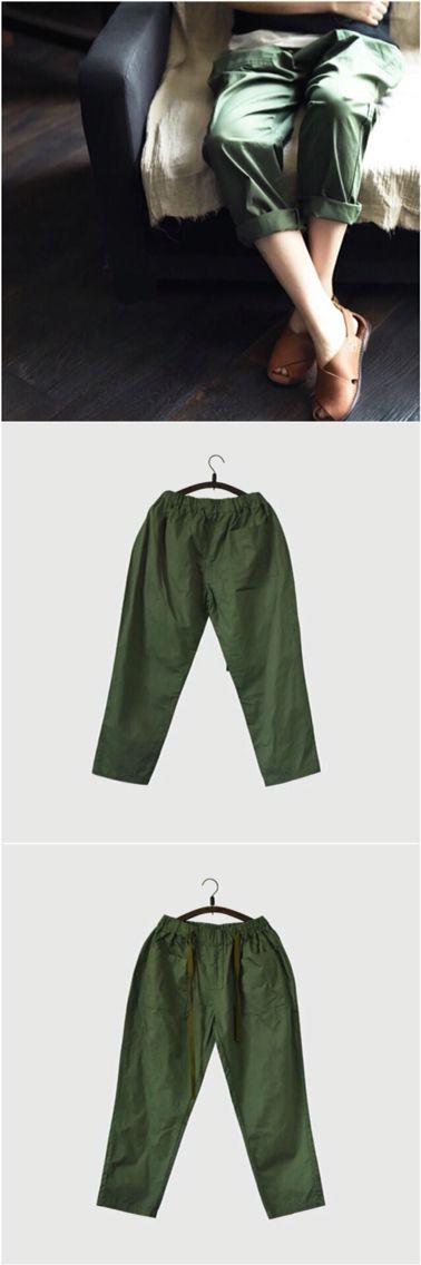 Cotton green pants women trousers