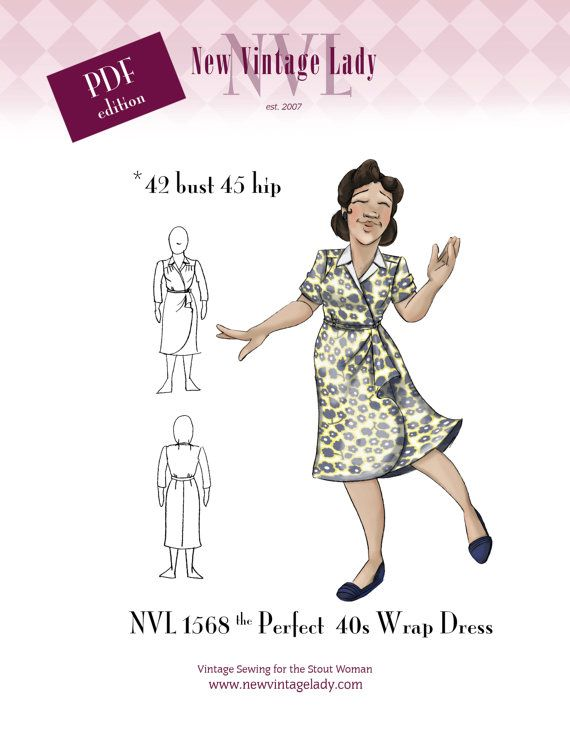 NVL The perfect 40s Wrap Dress 42 Bust in PDF
