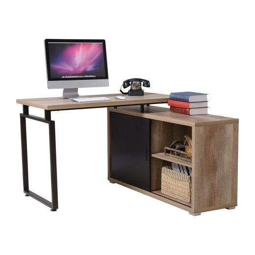 The Homestar Duo L shaped desk with sliding door bookcase combines simplicity, sophistication, and convenience for your study or work area. It has a modern style that will coordinate with most traditional and contemporary home décor styles. The combination is both dramatic and neutral for blending with most room color schemes. There's room on the desktop for a laptop, with notebook or textbook. The bookcase provides organization possibilities for books, stationeries, files and en...