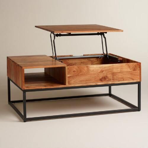 Richly Grained Acacia Wood On A Sleek Metal Base   Thereu0027s More To This Clever  Coffee