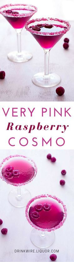 Whether you're looking for the perfect Valentine's Day cocktail or a drink for girl's night, the Very Pink Raspberry Cosmopolitan is perfect for the job! Vodka and raspberry flavors pair perfectly in this favorite. {wineglasswriter.com/}