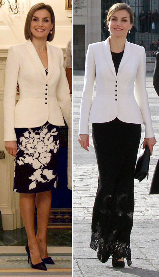 It was the third time Letizia has worn the peplum style blazer by her signature designer, Felipe Varela. However, on each occasion she has styled it differently and adapted it to suit the occasion. When she debuted it during a visit to Washington DC, Letizia wore it over a coordinated black and white floral dress by the same design house. In January this year, she wore it with a black Felipe Varela maxi length dress for the traditional Pascua Militar celebration.