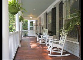 How peaceful and inviting, the perfect opening line to your home.: Country Porches, Rocks Chairs, Rockers, Front Porches Design, Southern Porches, Gray House, Porches Ideas, Dreams Porches, Wraps Around Porches