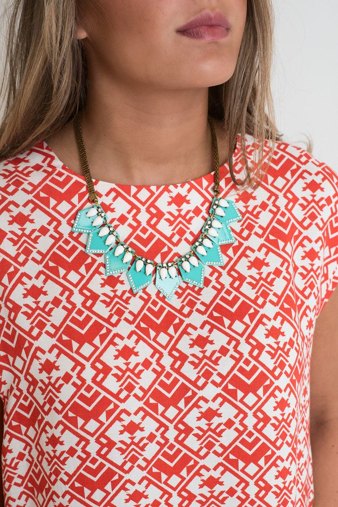 Rock To The Beat Turq Tribal Necklace, $14.00 #necklace #turquoise #tribal #gold #statement #triangle #singlethreadbtq #shopstb #boutique