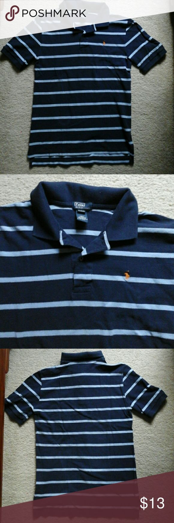 "⭐️ Polo by Ralph Lauren  ( teenager size) ⭐️ Polo collar shirt by Ralph Lauren  in Blue with light blue stripes  18"" under arm, 18"" wide 27 length Ralph Lauren Shirts & Tops Polos"