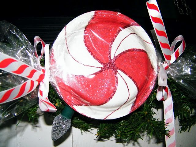 Peppermint toss use frisbees painted like peppermints and have kids