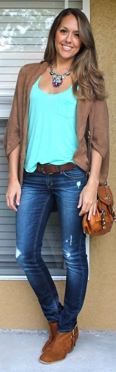 Turquoise Necklace and Camel Cardigan over Turquoise Top... | J's Everyday Fashion