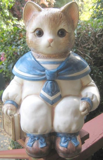 """Vintage """"Wilbur The Cat"""" Cookie Jar with Real Glass Marble Eyes, c1980s -  made in Japan for Mervyn's Department Stores"""