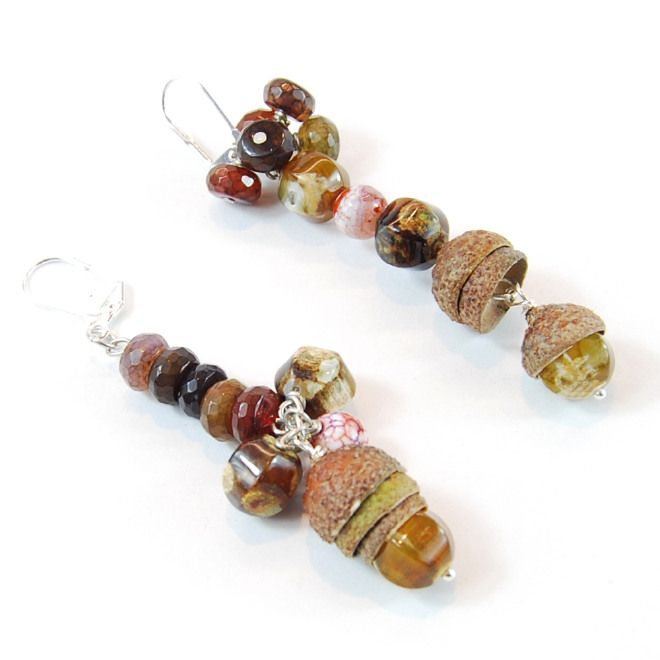 Orecchini Sweet Autumn con agata e vere ghiande OOAK handmade only by Daffodil Bijoux with agate and real acorn tops