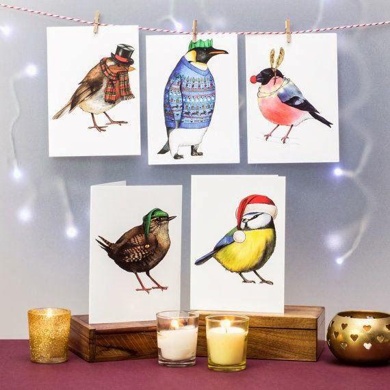 Christmas birds in hats.