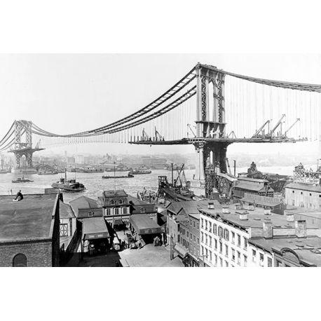 Obraz na płótnie - Brooklyn Bridge Dawno temu - dostępny w rozmiarach 150x100, 120x80, 90x60, 60x40 i 40x26 cm #fedkolor #obraz #na #płótnie #ze #zdjęcia #obrazzezdjęcia #zdjęcianapłótnie #wydruki #fotografie #ozdoby #dekoracje #brooklyn #most #bridge #dawno #temu #historia #stare #wspomnienia #czarnobiałe #blackwhite