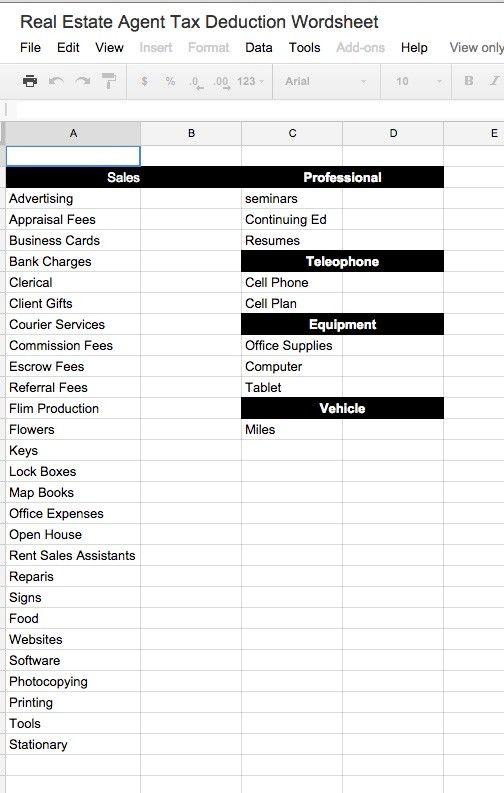 Realtor Tax Deductions Worksheet – List of Itemized Deductions Worksheet
