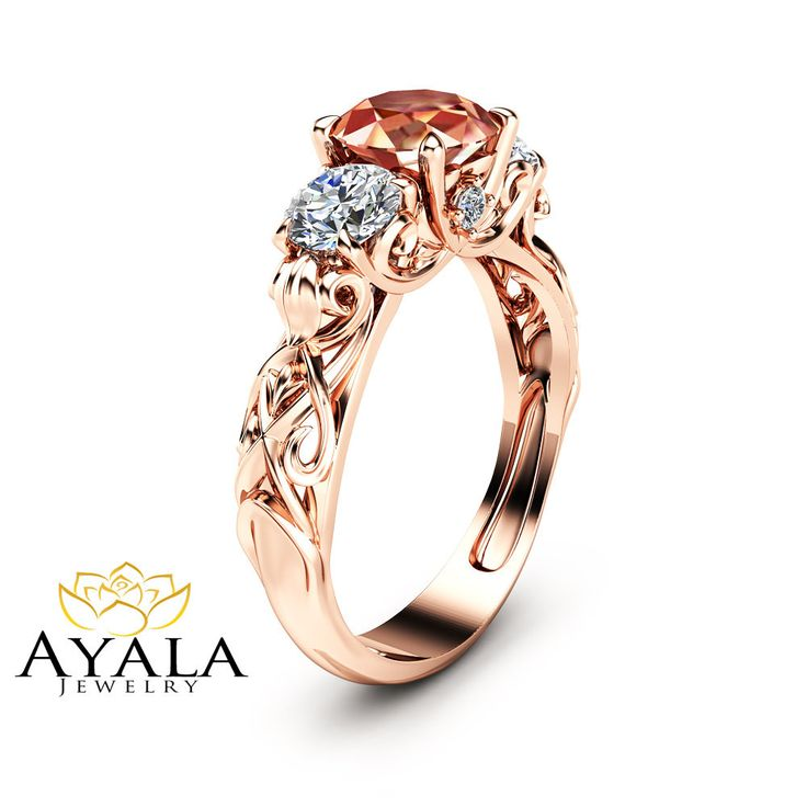 61060be21acb Peach Pink Morganite Engagement Ring Unique Three Stone Engagement Ring in  14K Rose Gold Filigree Ring with Morganite and Moissanite
