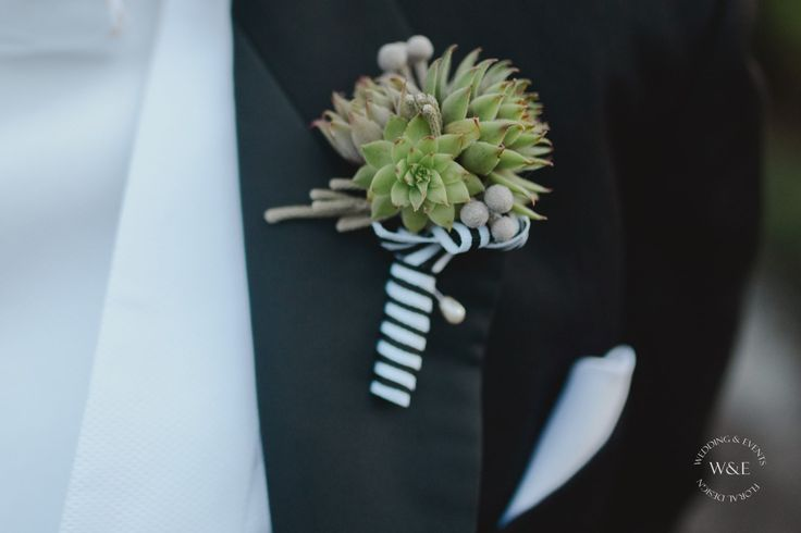 Fabulous image from Camilla Rosa Photography of our Succulent Buttonhole for Charlie at the Pheasant Hotel, Harome www.weddingandevents.co.uk