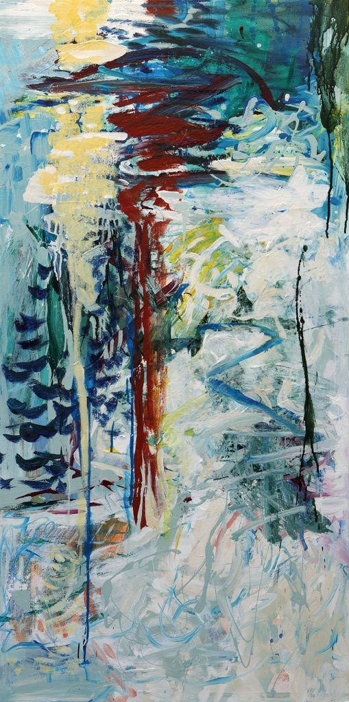 Abstract Painting by Veronica Plewman - ALPINE CASCADE, 2015 Acrylic on Canvas  48˝ × 24˝