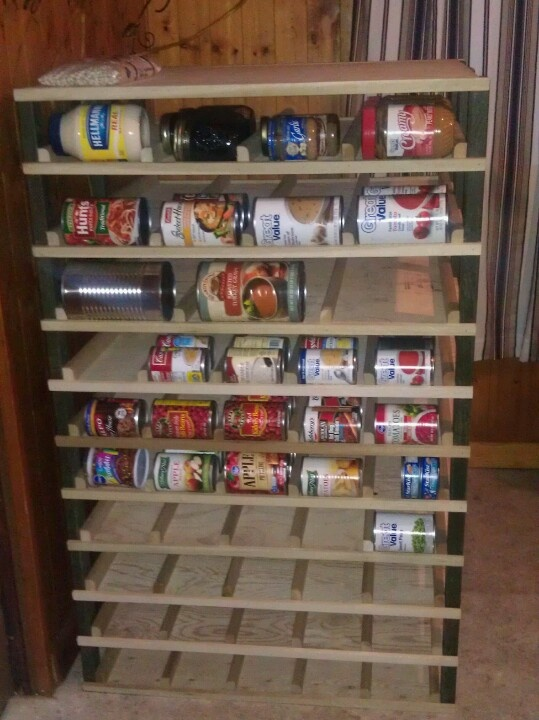 canned food storage rack was fairly easy to make works great restock from the back and pull. Black Bedroom Furniture Sets. Home Design Ideas