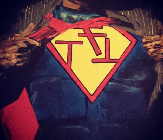 Hand-painted Phi Sigma Kappa fraternity superman