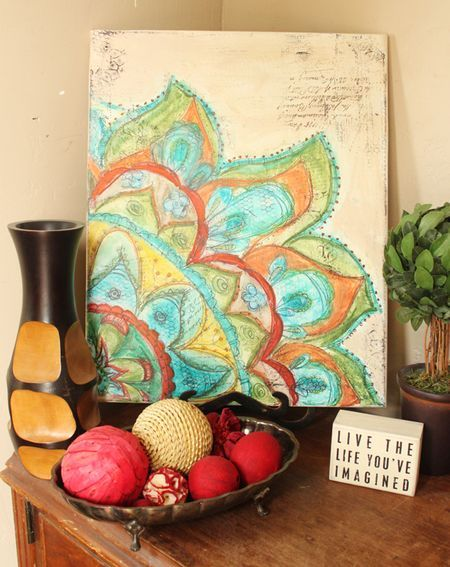I'm so loving this doodled canvas by Christy Tomlinson which was inspired by Alisa Burke!!