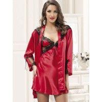 Anastasia 4024 Saten Gecelik Sabahlık; Kırmızının verdiği seksilik ile en kışkırtıcı saten setlerden biri olan takım siyah dantel işlemeleriyle de far