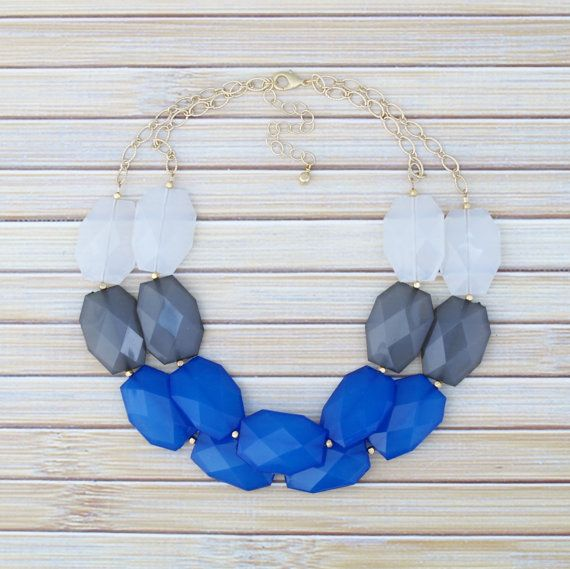 Color Block Statement Necklace Blue & Gray 2 by TheGoldenGardenia