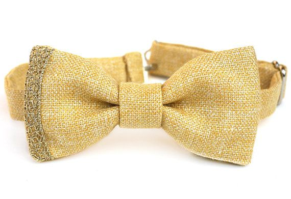 Yellow and Gold Bow Ties - Silk and Linen Bow tie - Pre-tied Bow Tie - Buttercup Yellow Bow Tie - Mustard Yellow Tie - Groomsmen - Wedding