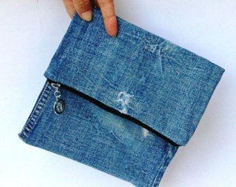 Fold over denim purse, Small clutch bag, Recycled jeans handbag, Zipper clutch purse