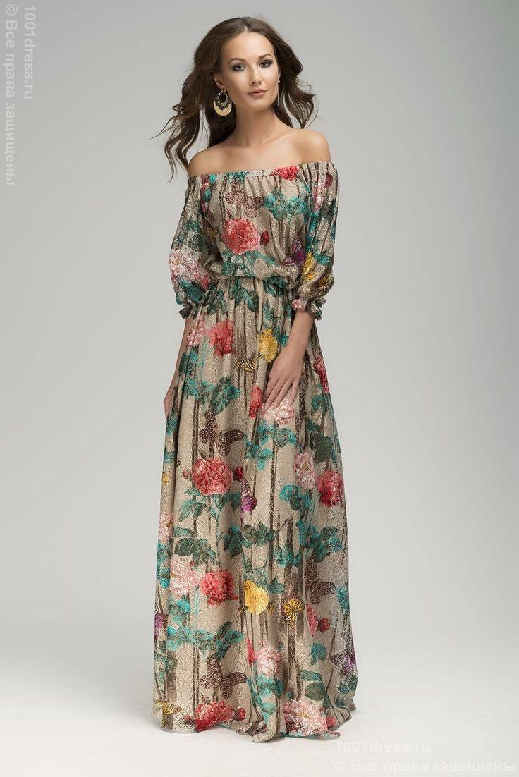 Платье бежевое кружевное длины макси с цветочным принтом. Бежевый в интернет магазине Платья для самых красивых 1001dress.Ru